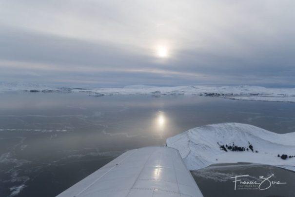 Flying over frozen Lake Þingvallavatn