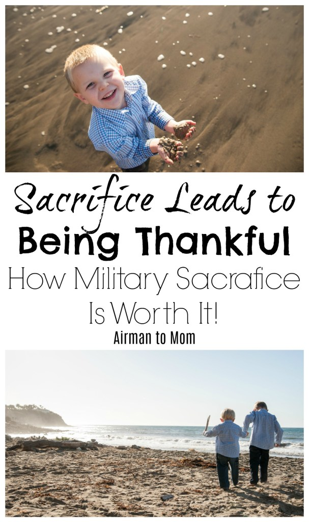How does military sacrafice lead to being thankful.