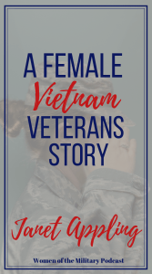 Here Janet shares her story of being a female Vietnam veteran: My name is Janet Appling and I retired from the Army as a Captain. I decided to join the military services after I had graduated from Northern Illinois University. I had been teaching 6th grade for a year before joining. This was in 1966 during the Vietnam War. When I first decided, I think it was more for the adventure that patriotism, but that soon changed. #vietnamveteran #femaleveteran #womenofthemilitary