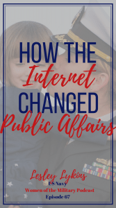 Serving in the Navy as a Public Affairs officer as the world changed. Check out Lesley's story this week on the Women of the Military Podcast #podcast #militarypodcast #stories #navy #publicaffairs