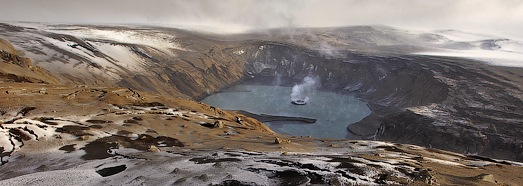 On the edge of the Grimsvotn volcano crater - AirPano.com • 360 Degree Aerial Panorama • 3D Virtual Tours Around the World