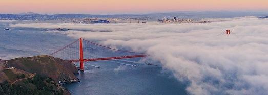 """Сан-Франциско,  мост  """"Золотые Ворота"""".  Туман - AirPano.ru • 360 Градусов Аэрофотопанорамы • 3D Виртуальные Туры Вокруг Света"""