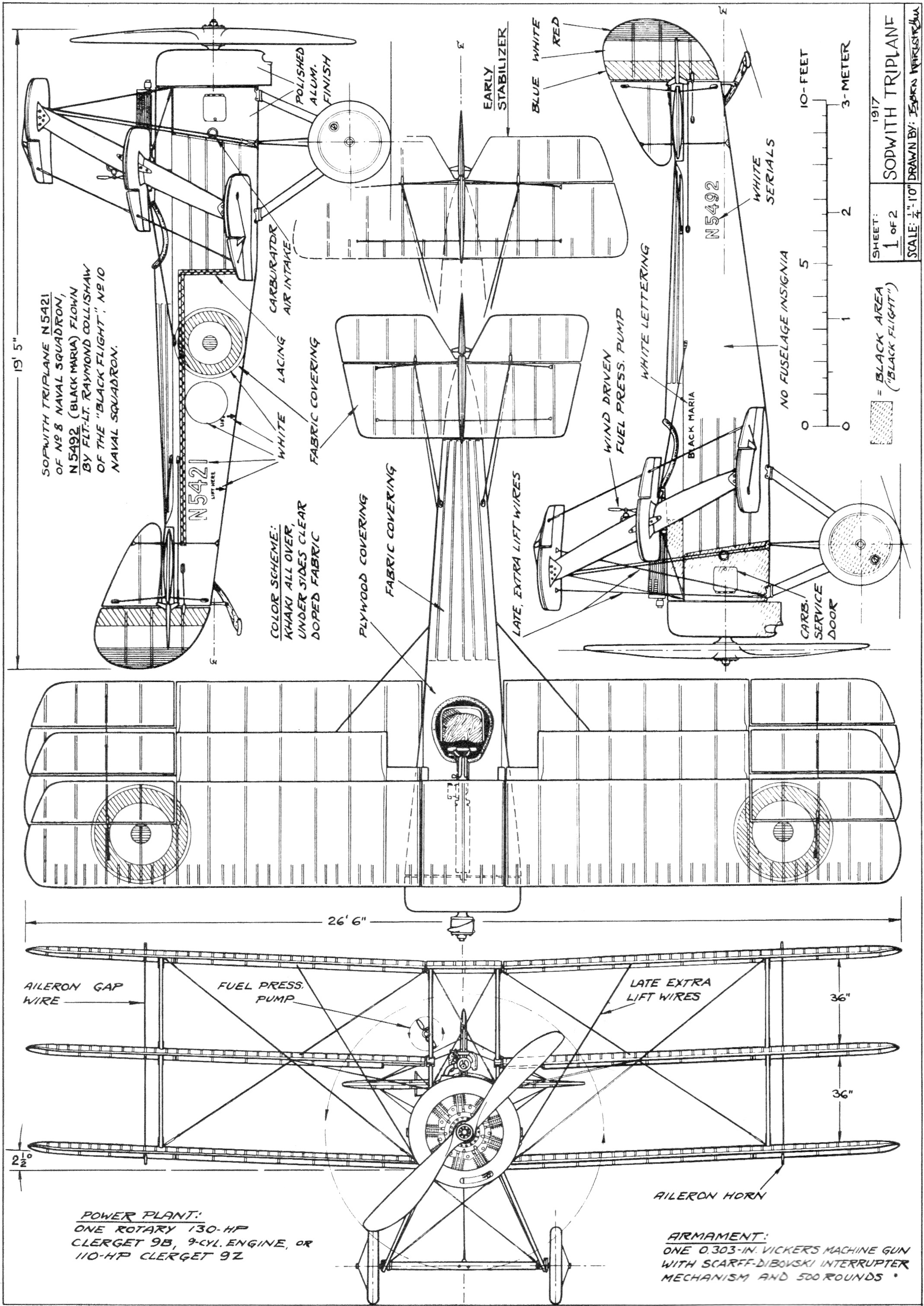Sopwith Triplane Plans 4 View August American