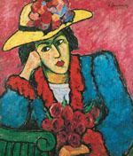 Dame mit gelbem Strohut