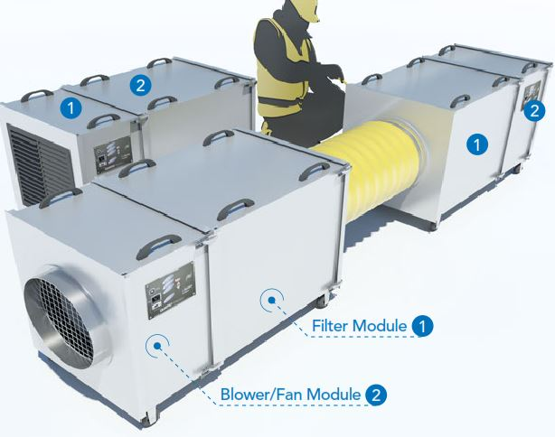 Air Filtration Units : Cfm air filtration scrubber system