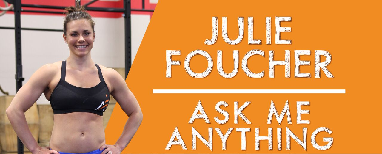 "Julie Foucher smiling in gym wearing Airrosti gear along side text that reads ""Julie Foucher Ask Me Anything"""