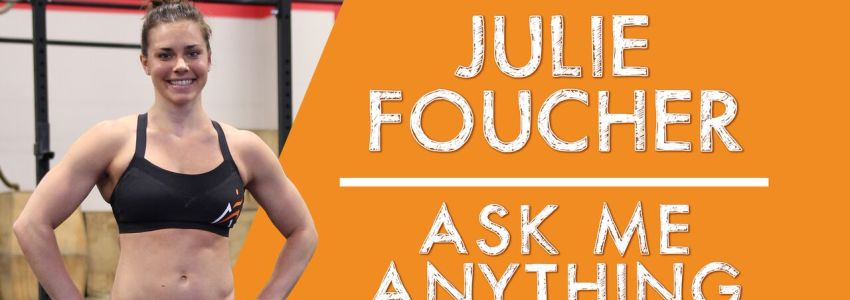 """Julie Foucher smiling in gym wearing Airrosti gear along side text that reads """"Julie Foucher Ask Me Anything"""""""