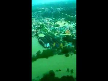 Keadaan Banjir di Kota Bahru dirakam melalui pesawat EC725 TUDM