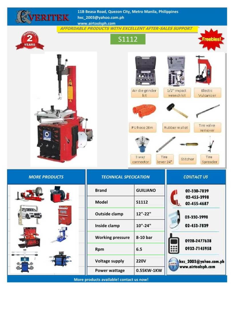 giuliano tire changer machine, 3excel wheel aligner-henry import and export corporation -www.airtoolsph -car lifter, wheel aligner, tire changer, wheel balancer, brake lather, philippines (16)