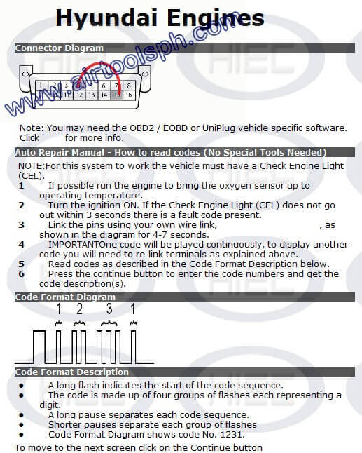 HYUNDAI 16 PINS manual diagnostic jumper settings, www.airtoolsph.com, henry import and export corporation, veritek incorporaetd-Obd1 and obd 2 manual diagnostic-jumper settings-obd codes-