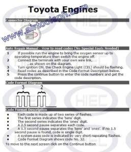 TOYOTA 2 PINS manual diagnostic jumper settings, www