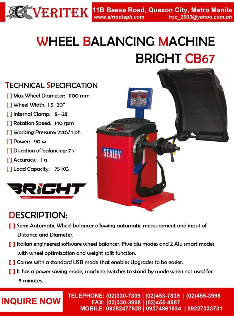 bRIGHT vERITEK CB67 wHEEL BALANCING MACHINE