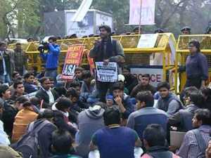AISA protesting in against CSAT in UPSC in February 2014