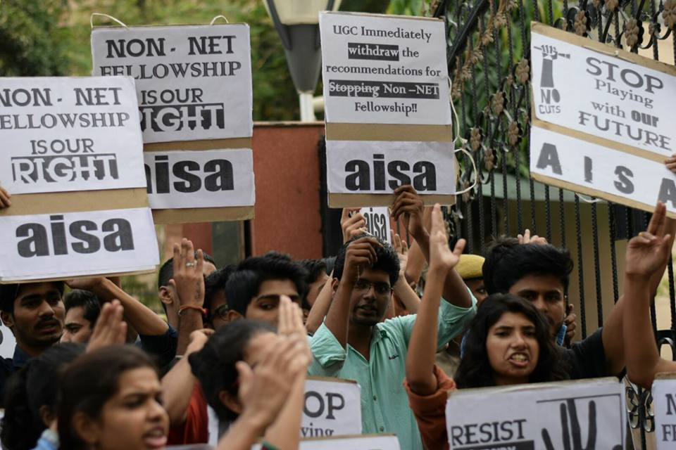 Student #OccupyUGC to save Non-NET Fellowship