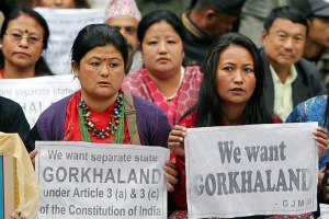 Protestors in Darjeeling