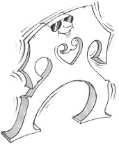 article library - technical cello articles - Newsletters - Cartoon of a sunglassed cello bridge