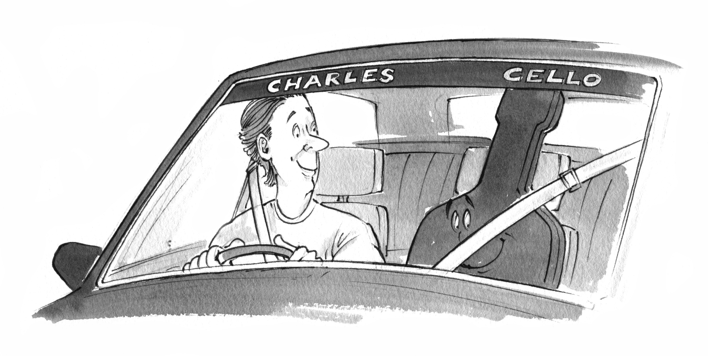 Cartoon of a man driving a car with a cello strapped into the passenger seat