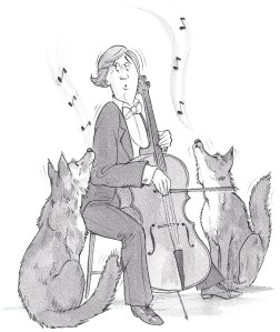 Cartoon of a lady playing the cello to two wolves howling