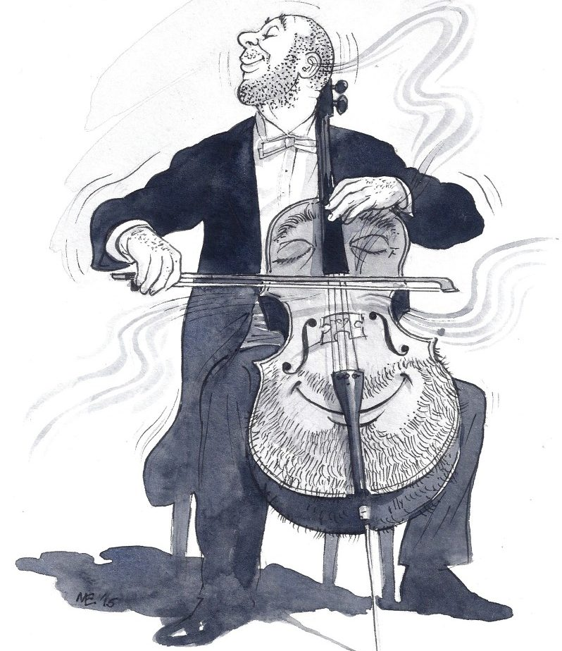 practical cello articles - Cartoon of man with beard playing a cello with a beard