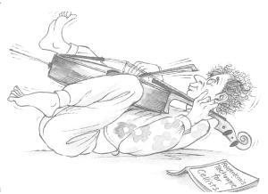 article library - Newsletters - Cartoon of man laying down on back playing the cello