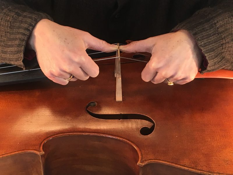 article library - practical cello articles - Photo of bridge straightening