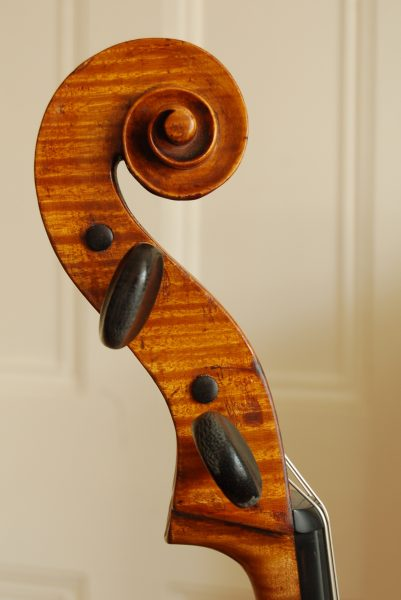Later scroll on Carlo Antonio Testore cello