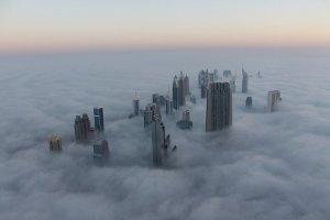 Cityscape Dubai Fog Sunrise Burj UAE