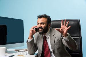 Businessman on conference call from India.