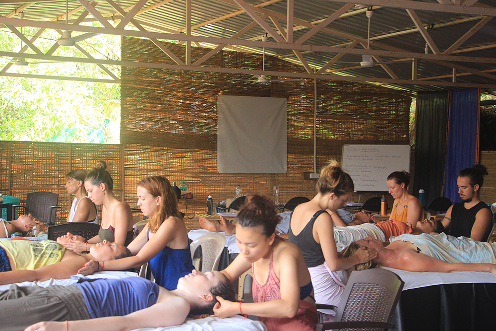 Ayurveda Massage Course in Goa, India ~ Students performing Ayurvedic Face Massage