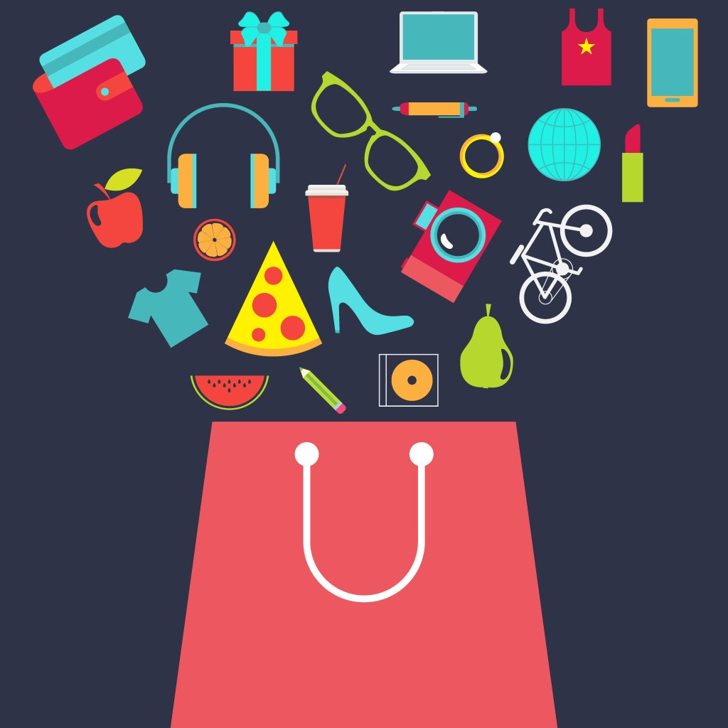 Materialism, consumerism and shopping bag full of luxury items