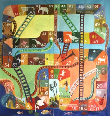 Snake and ladders: A musical game design (cloth) © Arun VC