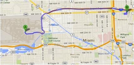 Endereço do Aeroporto: 2100, NW 42nd Ave. Endereço do Walmart: 8400, Coral Way. A loja Walmart mais próxima do Aeroporto Internacional de Miami fica a apenas 15 minutos. Saindo do ponto A (Aeroporto), siga na direção sul para Miad Cir, faça então uma curva suave à esquerda em direção a NW 21st. Pegue a rampa de acesso e pegue a saída 4 em direção Florida 953 S/Le Jeune Rd/Coral Cables/Florida 836.  Siga em frente até pegar a rampa de acesso para a FL-836 W. Pegue a saída à direita para a FL-826 S em direção a Flagler St/Tamiami Trail. Também à direita, pegue a saída para SW 24th St/Coral way. Mantenha-se à direita na bifurcação e siga as indicações para a SW 24th w/Coral Way. Vire à direita na SW 24th St/Coral Waye siga até o número 8400.