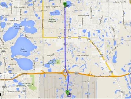 Mapa walmart aeroporto Orlando