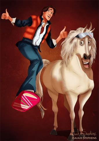 Flynn e Maximus de Enrolados como Marty McFly e Doc de De Volta para o futuro