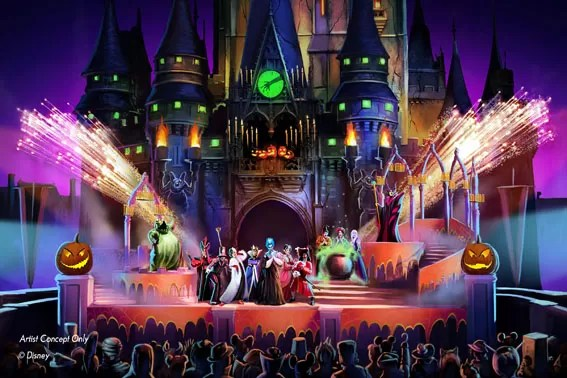 ÒHocus Pocus Villain Spelltacular,Ó a new show during Mickey's Not-So-Scary Halloween Party at Magic Kingdom Park, will debut this fall. The mischievous Sanderson Sisters from DisneyÕs Hocus Pocus will throw an evil Halloween party that  features appearances by Dr. Facilier, Oogie Boogie, Maleficent and other great Disney villains, along with dancers, projections and special effects. Walt Disney World Resort is located in Lake Buena Vista, Fla. (Disney)