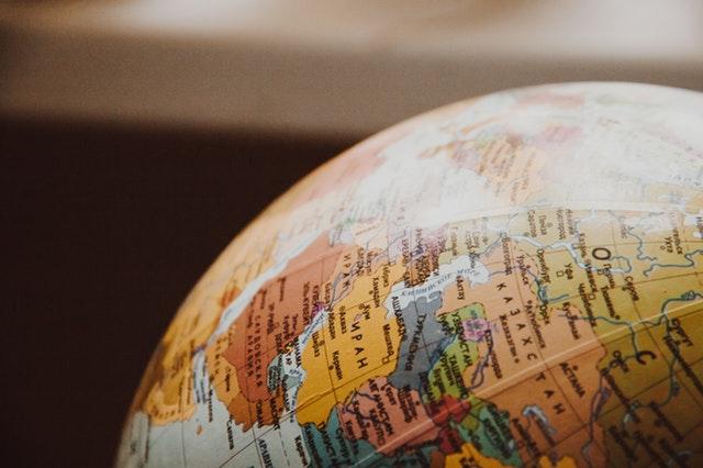 globo, mapa, países