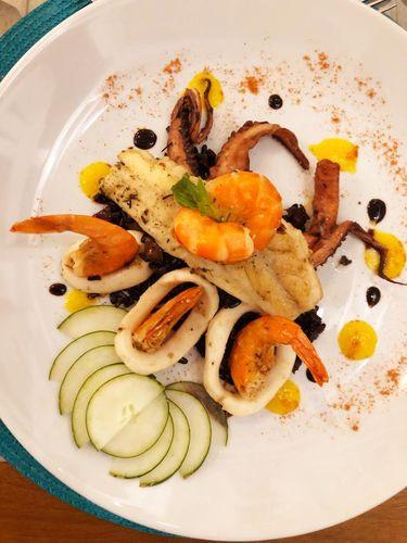 Tentáculos de polvo, camarões, lulas e filé de Vermelho do Benditos Frutos, Costa do Sauípe