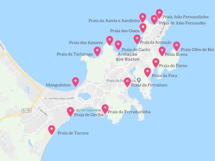 Mapa das praias de Búzios RJ