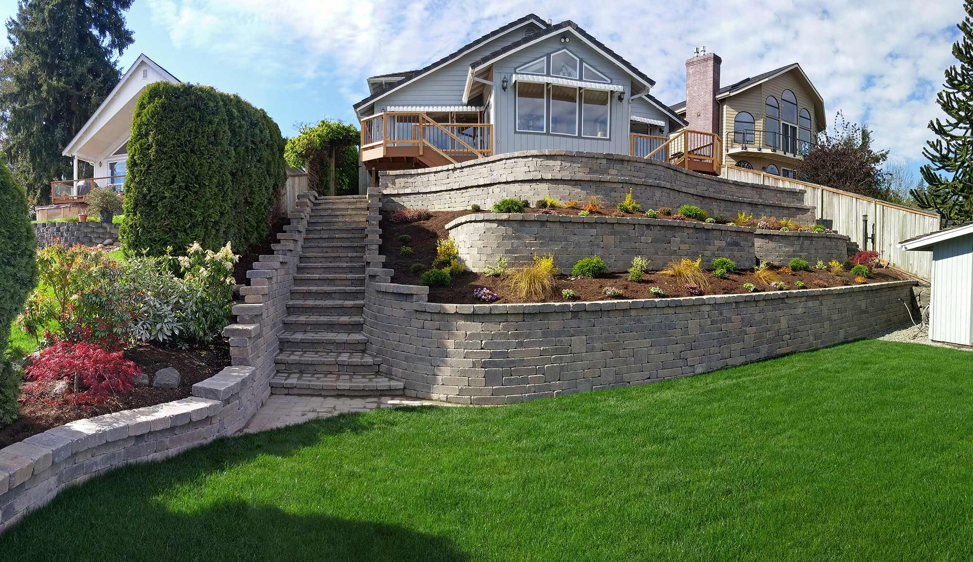 Tiered Retaining Wall on Lake Lawrence Near Yelm - AJB ... on Tiered Yard Landscaping id=72855
