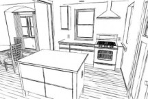 sketch of kitchen counters and cabinets