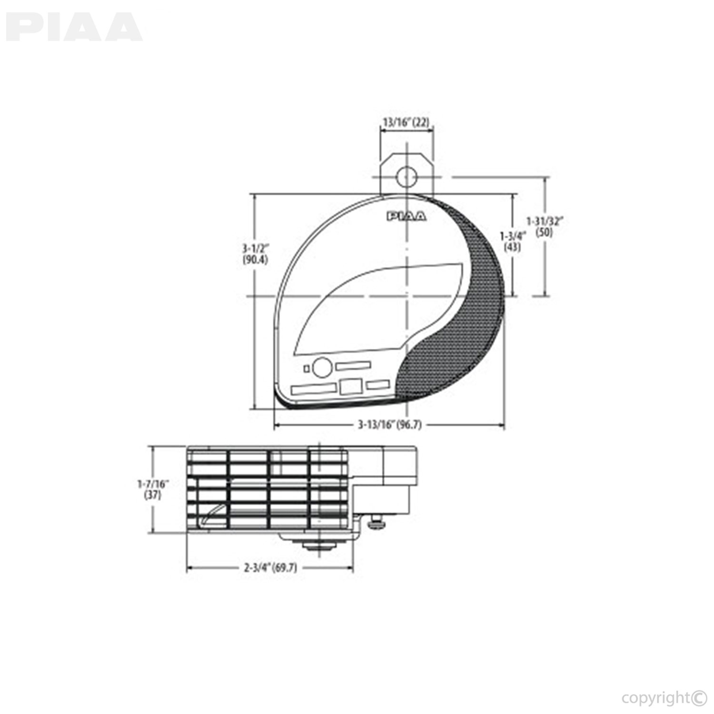 Piaa Powersports Slim Line Sports Horn 500hz