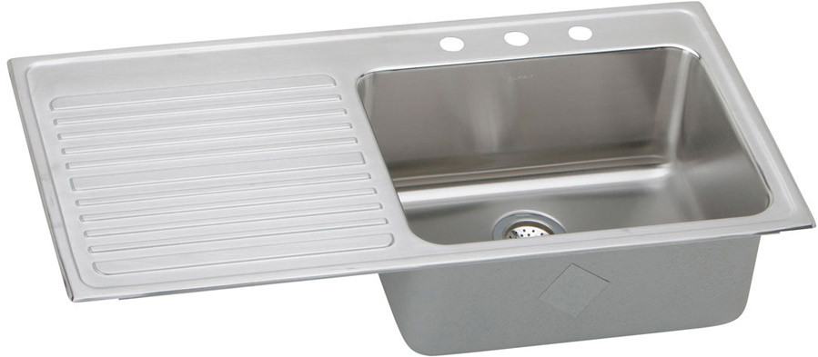 elkay gourmet collection 43 inch top mount single bowl stainless steel sink