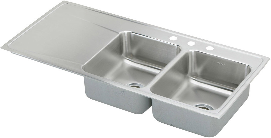 elkay lustertone collection 48 inch drop in double bowl stainless steel sink