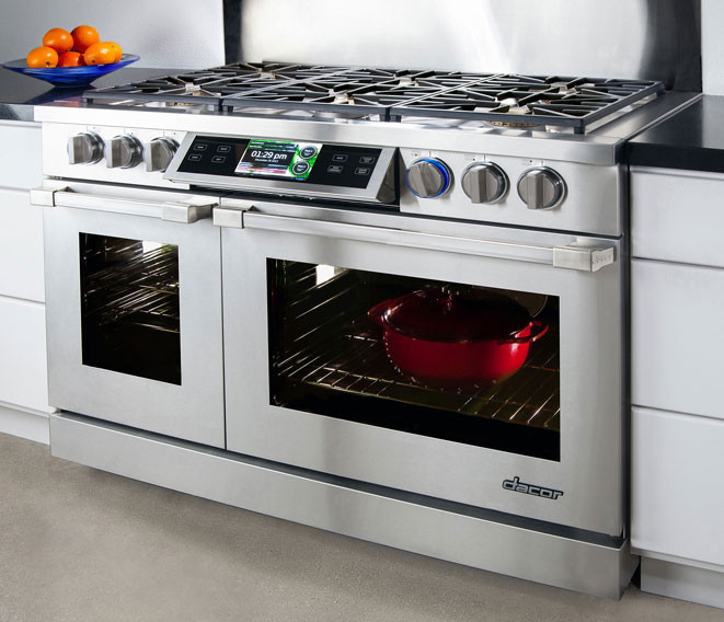 Dacor Dr30gisng 30 Inch Slide In Gas Range With 4 8 Cu Ft Convection Oven Burners Simmer Sear Burner Perma Flame Technology Continuous Platform
