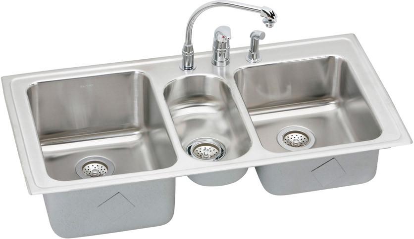 elkay gourmet collection 43 inch top mount triple bowl stainless steel sink package
