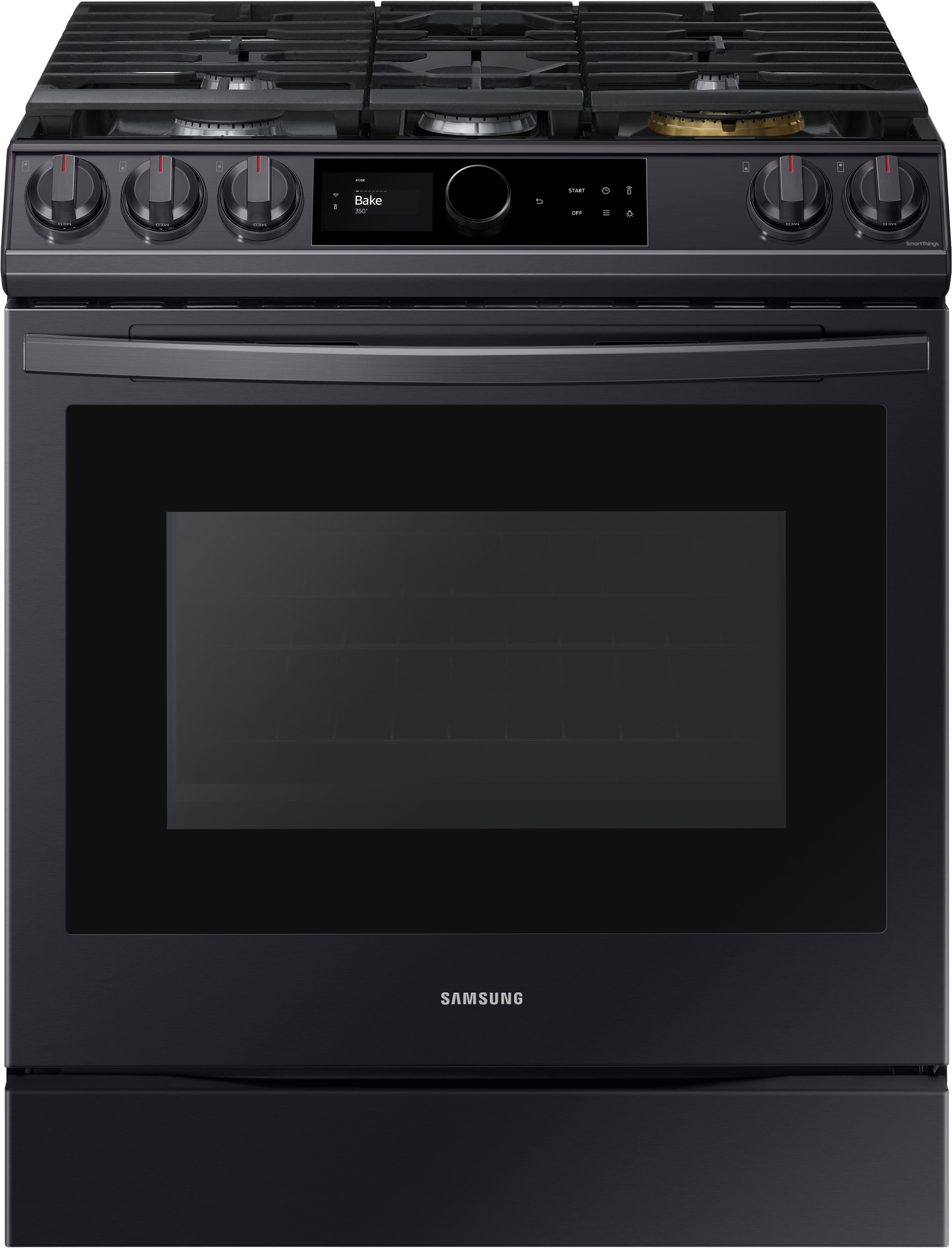 Samsung Nx60t8711sg 30 Inch Slide In Smart Gas Range With 5 Sealed Burners 6 0 Cu Ft Oven Capacity Edge To Edge Grates Air Fry Convection Self Clean Smart Dial Wi Fi Voice Enabled Power Burner Sabbath Mode