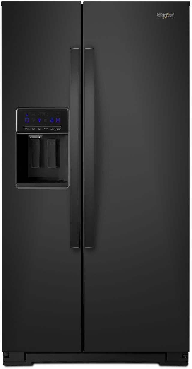 Whirlpool Wrs571cihb 36 Inch Counter Depth Side By Side Refrigerator With In Door Ice Storage Accu Chill Freshflow Air Filter External Dispenser Frameless Glass Shelves Adjustable Door Bins Adaptive Defrost Humidity Controlled Crisper And Led