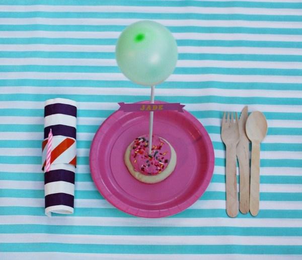 Birthday Cookie Balloon Placecards