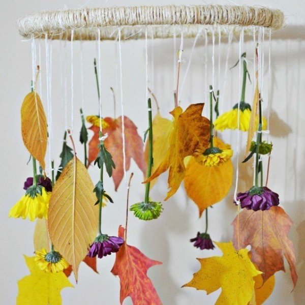 DIY Fall Leaves + Flowers Mobile