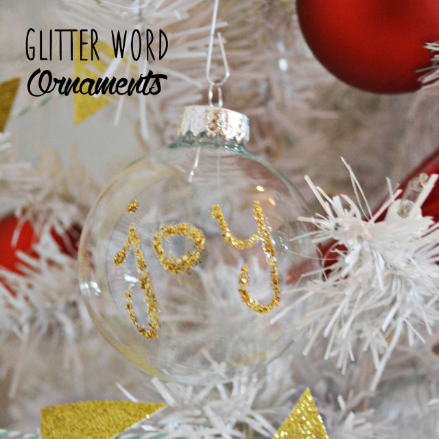 glitter word ornaments
